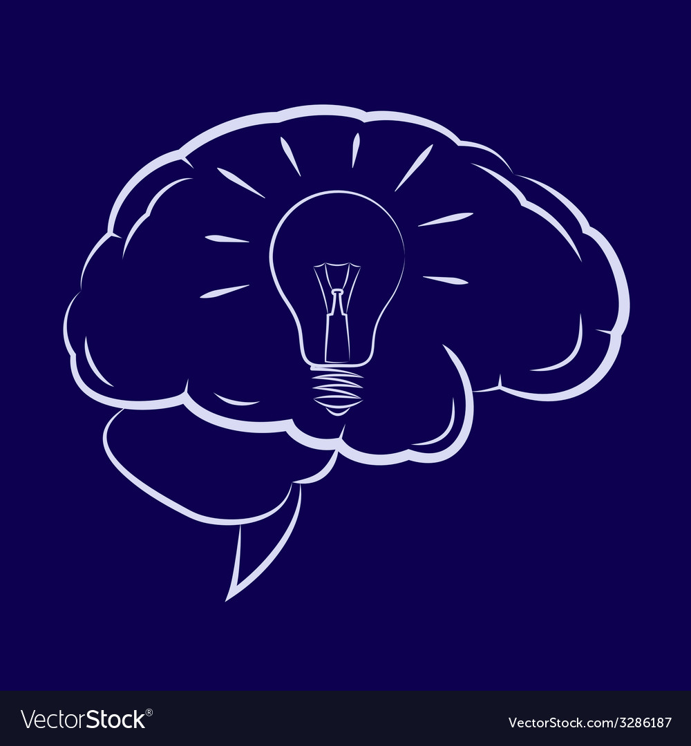 Symbol of the light bulb inside human brain vector | Price: 1 Credit (USD $1)