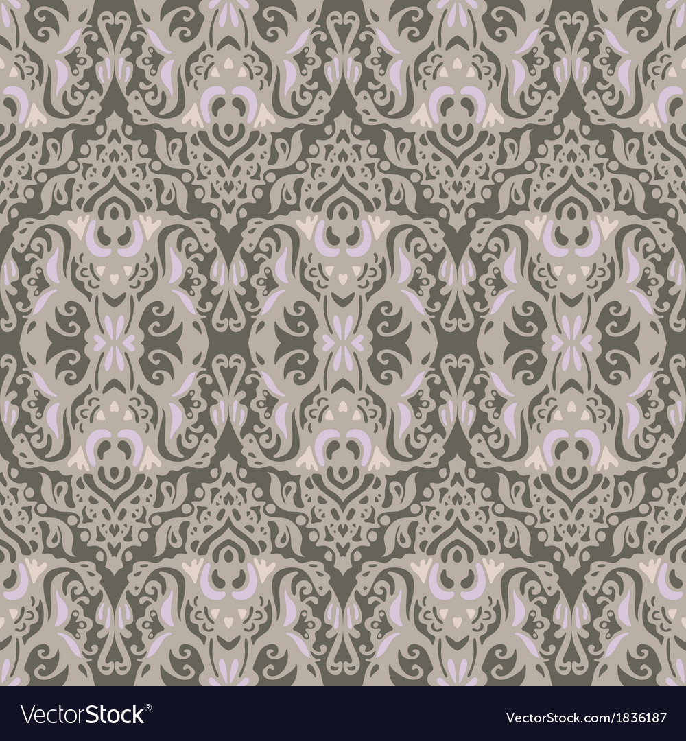 Vintage damask seamless pattern background vector | Price: 1 Credit (USD $1)