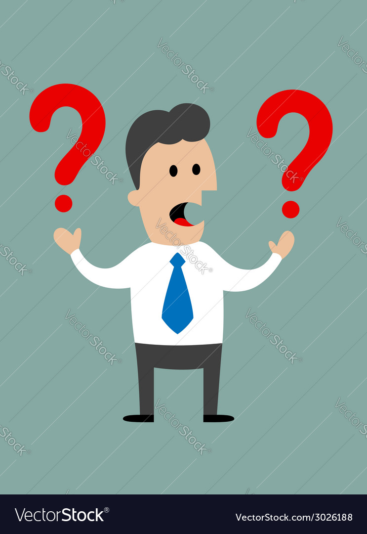 Businessman holding two question marks vector | Price: 1 Credit (USD $1)
