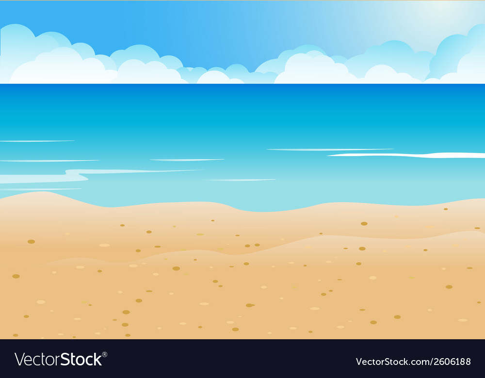 Cartoon beach and blue sea background vector | Price: 1 Credit (USD $1)