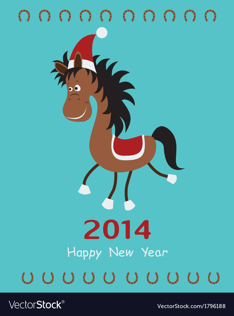 Christmas card with fun horse vector | Price: 1 Credit (USD $1)