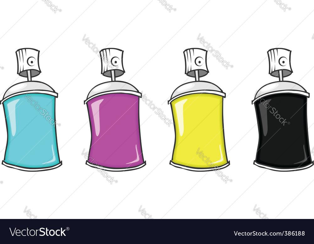 Cmyk spray cans vector | Price: 1 Credit (USD $1)