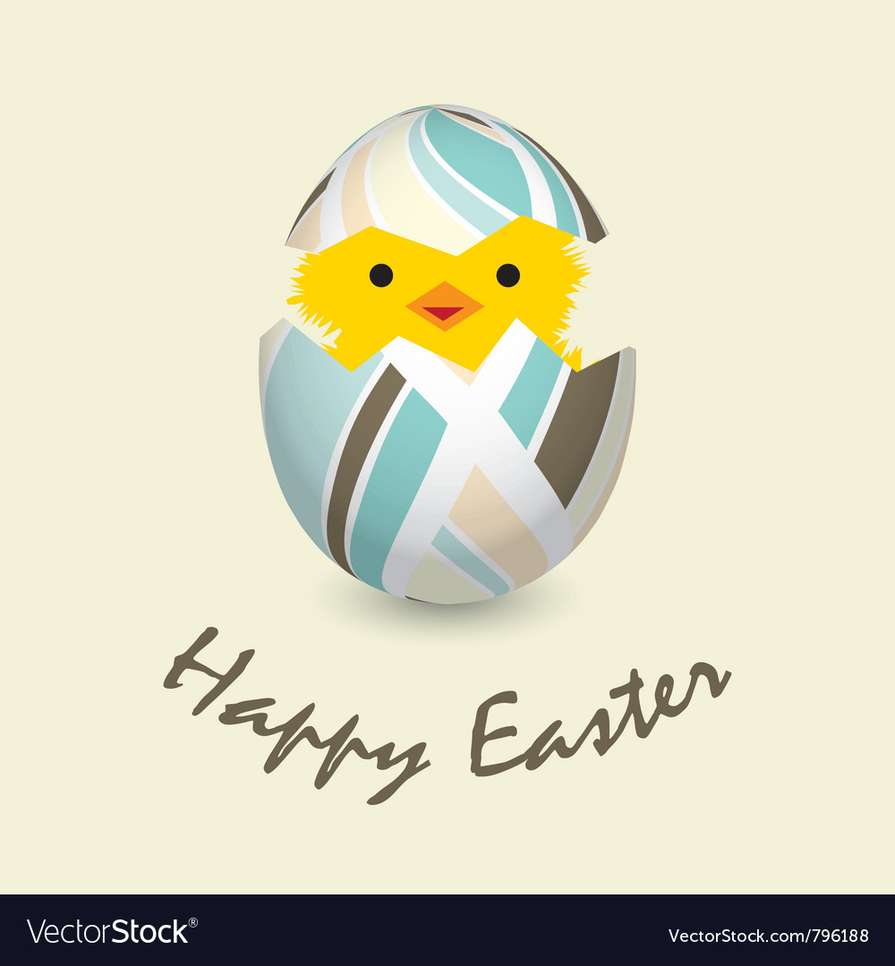 Easter card with a hatching chick vector | Price: 1 Credit (USD $1)