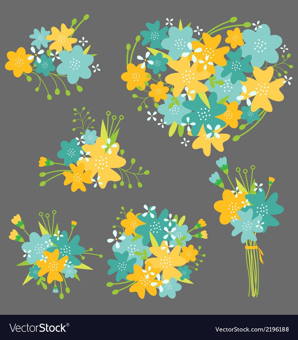 Floral bouquet in yellow and blue vector | Price: 1 Credit (USD $1)