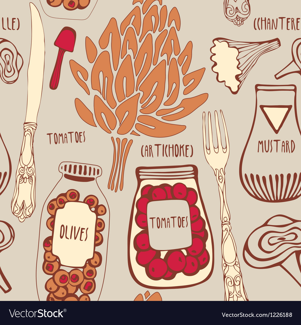 Food seamless doodles pattern vector | Price: 1 Credit (USD $1)