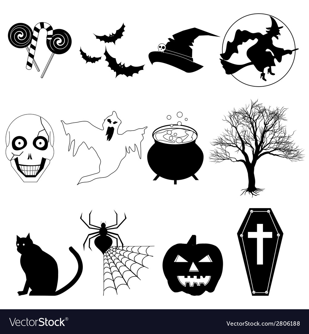 Halloween black and white vector | Price: 1 Credit (USD $1)