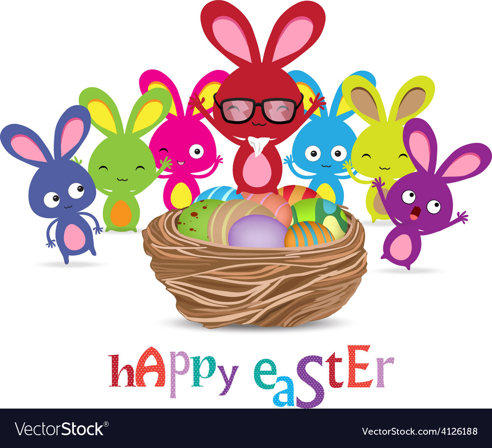 Happy easter with basket of eggs and bunny funny vector | Price: 1 Credit (USD $1)
