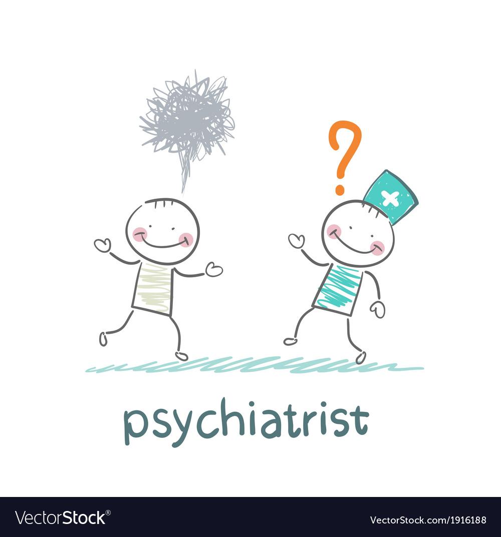 Psychiatrist afraid of crazy patient vector | Price: 1 Credit (USD $1)