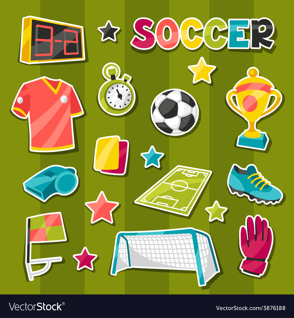 Set of sports soccer sticker symbols and icons vector | Price: 1 Credit (USD $1)