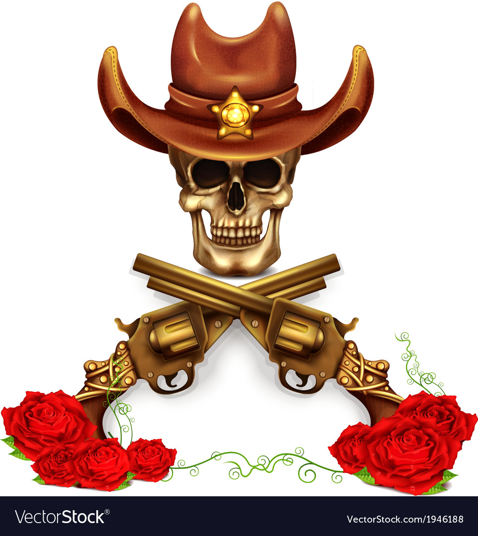 Sheriff skull in cowboy hat and with gun vector | Price: 3 Credit (USD $3)