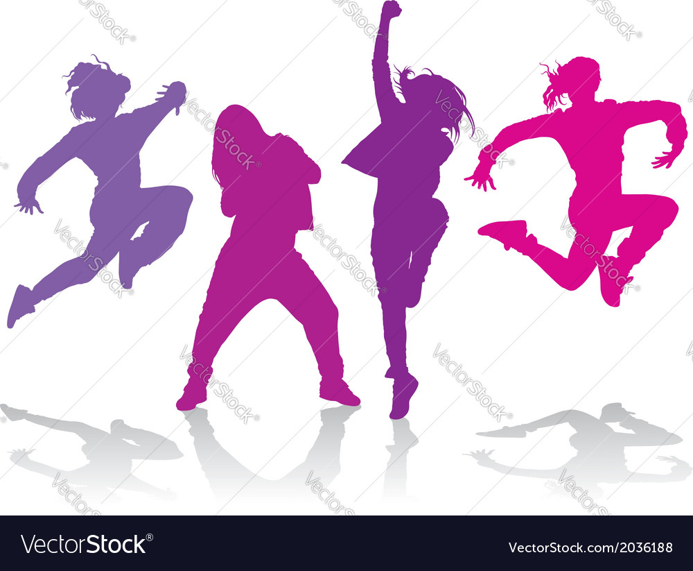 Silhouettes of girls dancing hip hop dance vector | Price: 1 Credit (USD $1)