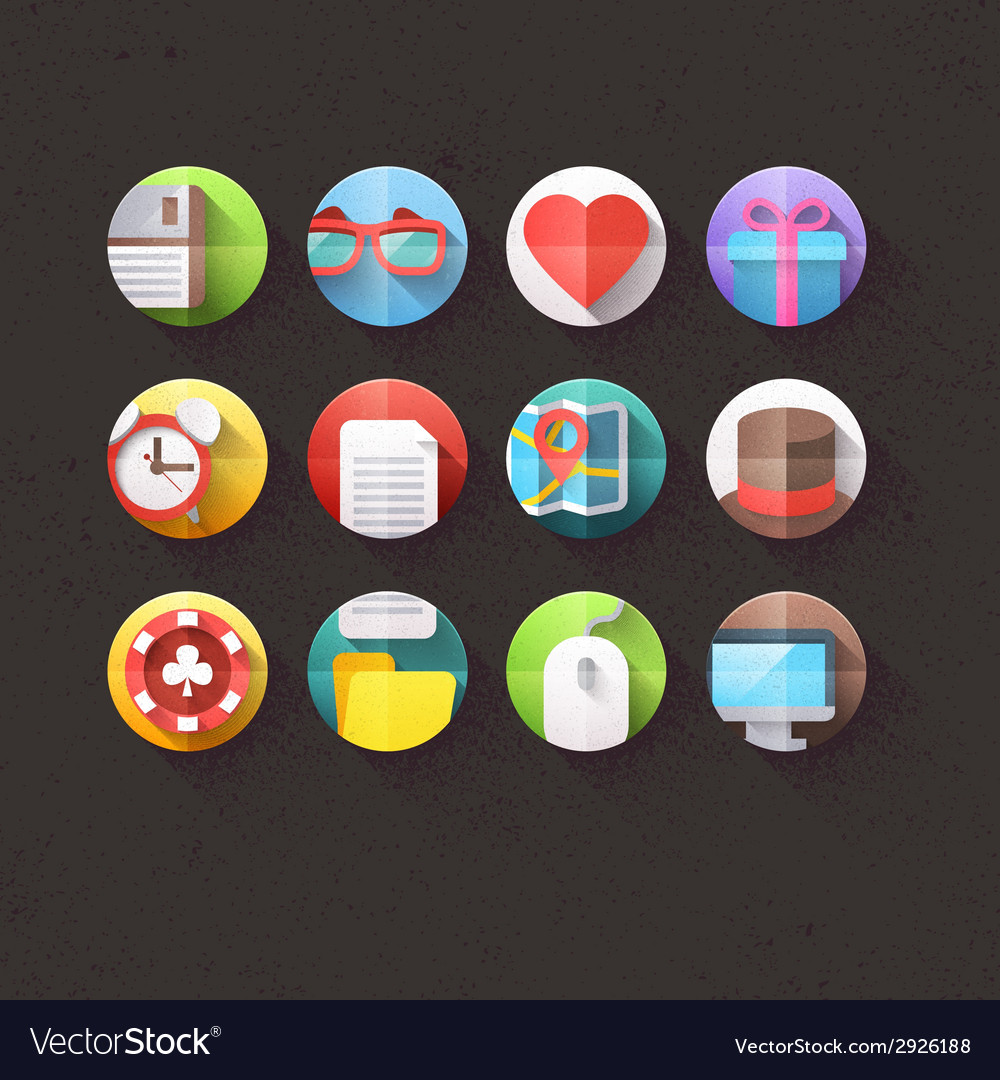 Textured flat icons for mobile and web set 1 vector | Price: 1 Credit (USD $1)
