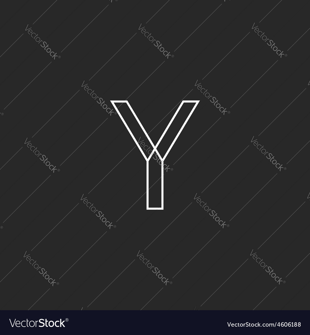 Y letter line logo mockup black and white business vector | Price: 1 Credit (USD $1)