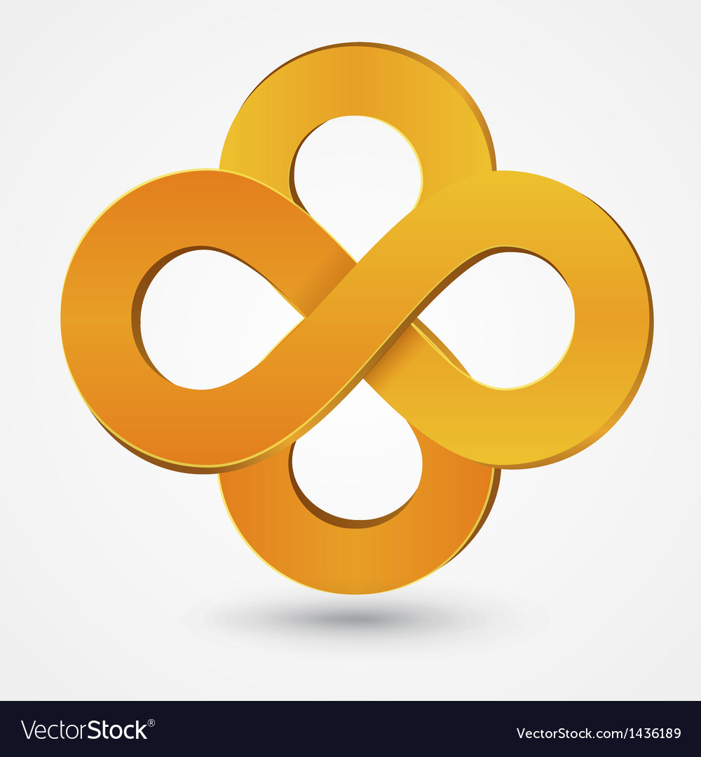 Abstract double infinity orange sign vector | Price: 1 Credit (USD $1)