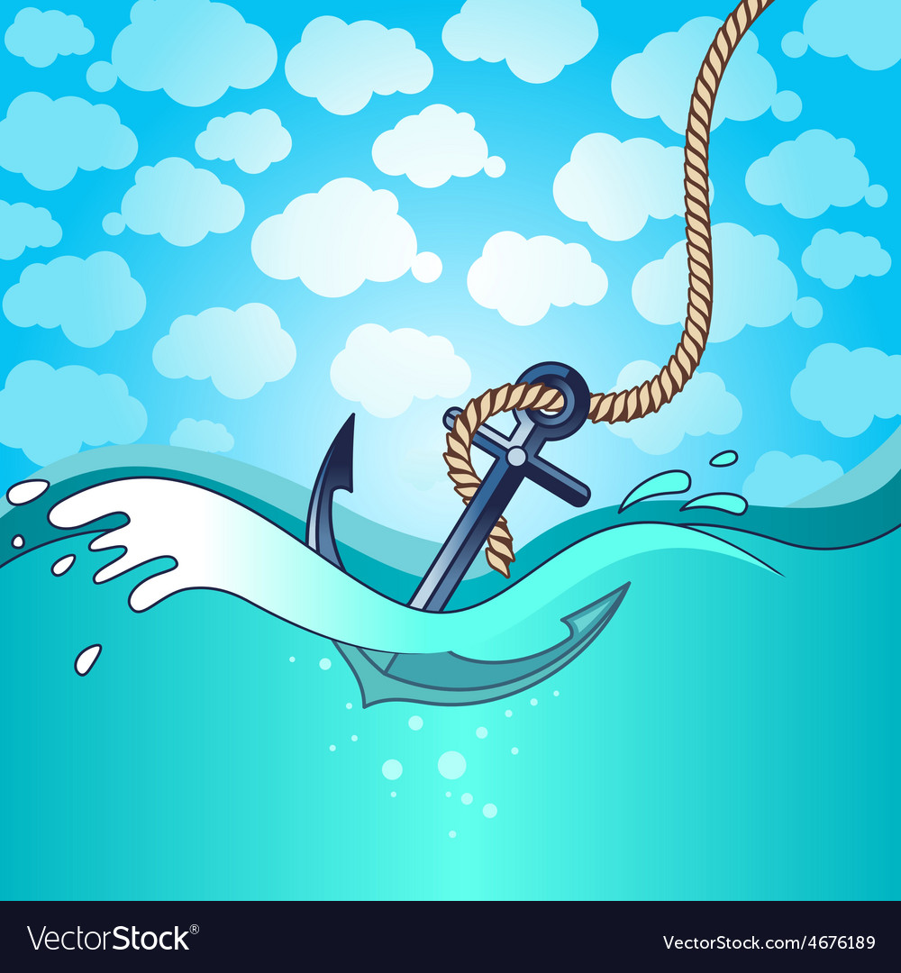Anchor falls into the water vector | Price: 3 Credit (USD $3)