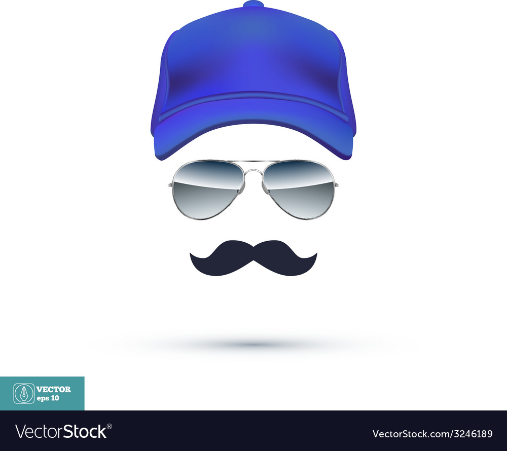 Cap glasses and mustache vector | Price: 1 Credit (USD $1)