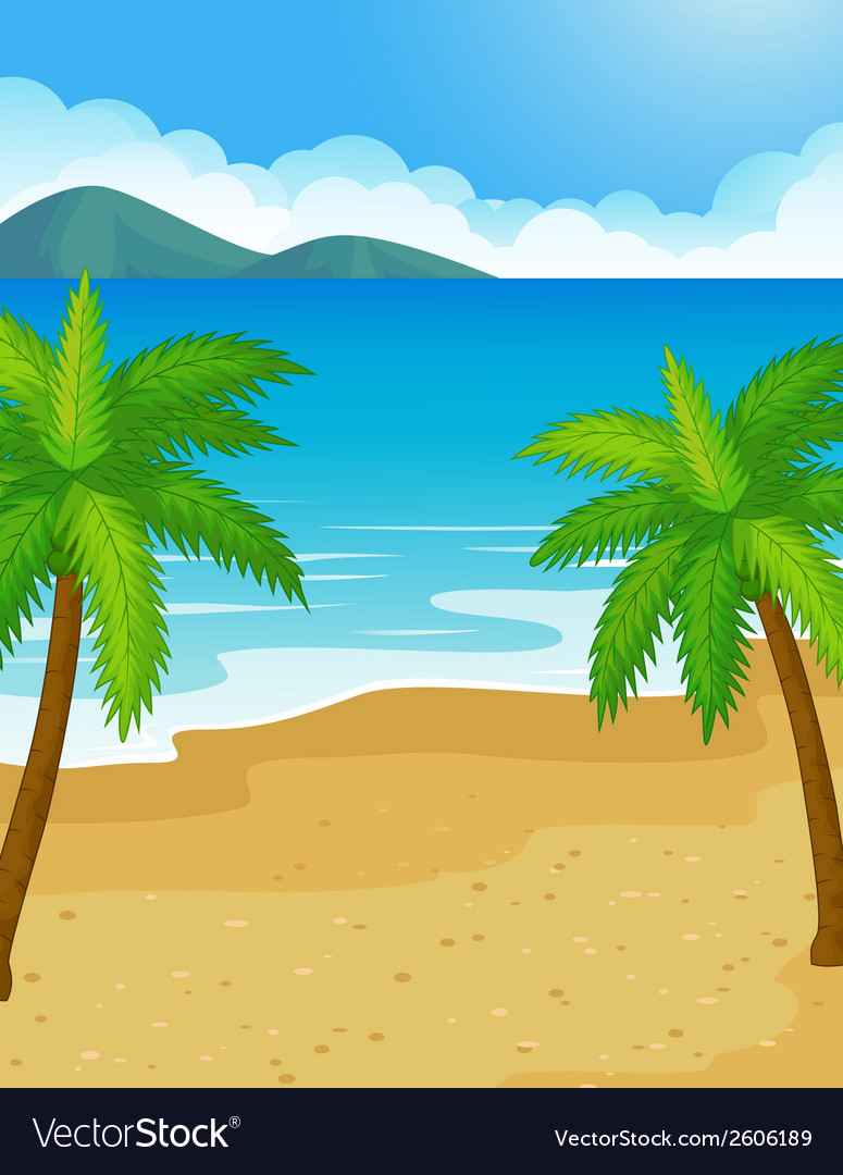 Cartoon beach background with coconut tree vector | Price: 1 Credit (USD $1)