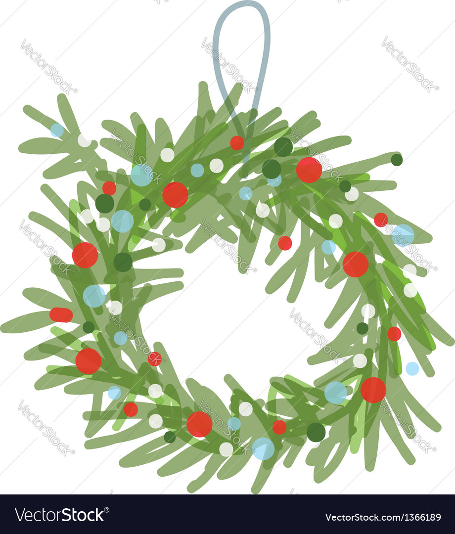 Christmas wreath sketch for your design vector | Price: 1 Credit (USD $1)