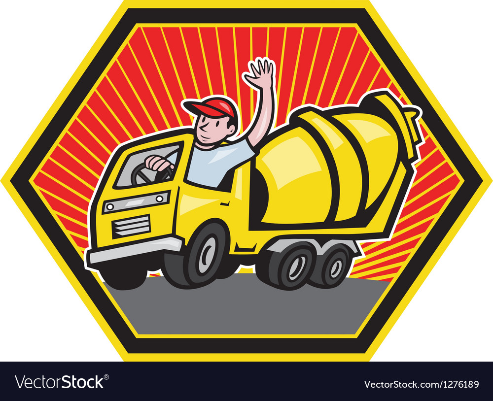 Construction worker driver cement mixer truck vector | Price: 1 Credit (USD $1)