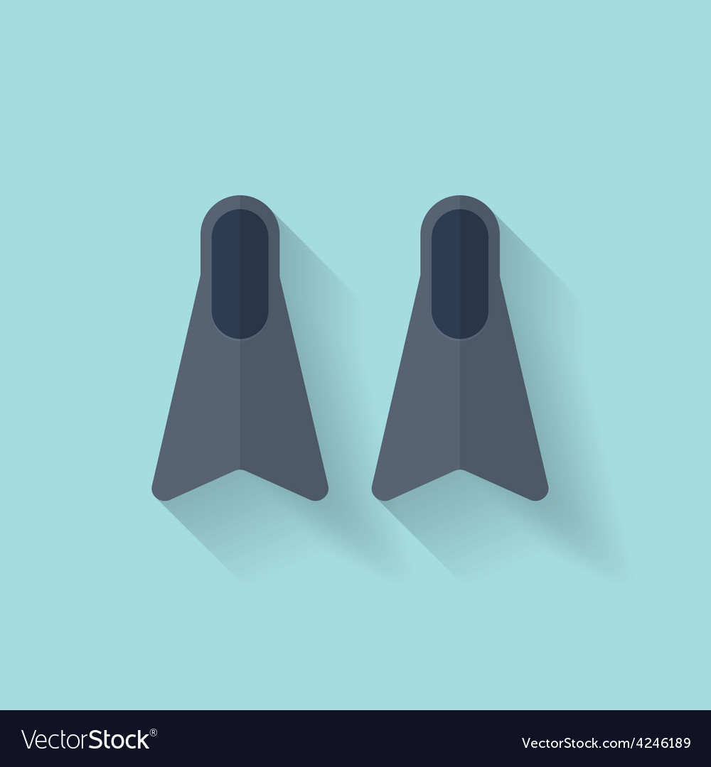 Flat diving flippers fins web icon vector | Price: 1 Credit (USD $1)