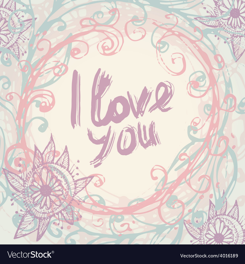 I love you greeting card template in vintage hand vector | Price: 1 Credit (USD $1)