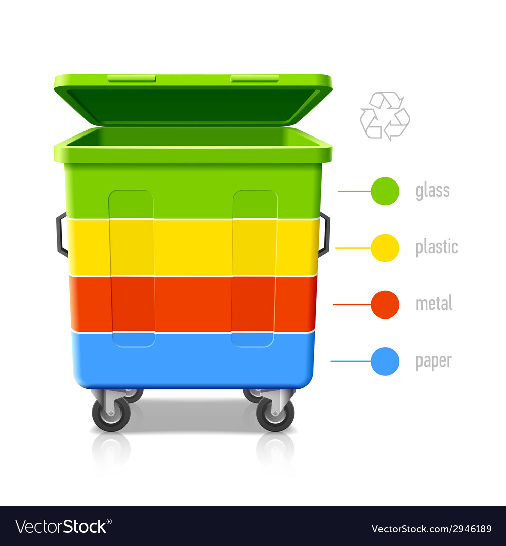 Recycling bins colors infographic vector | Price: 1 Credit (USD $1)