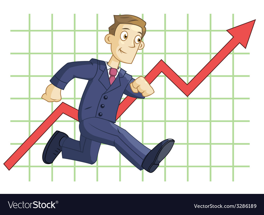 Running businessman on the business graph vector   Price: 1 Credit (USD $1)
