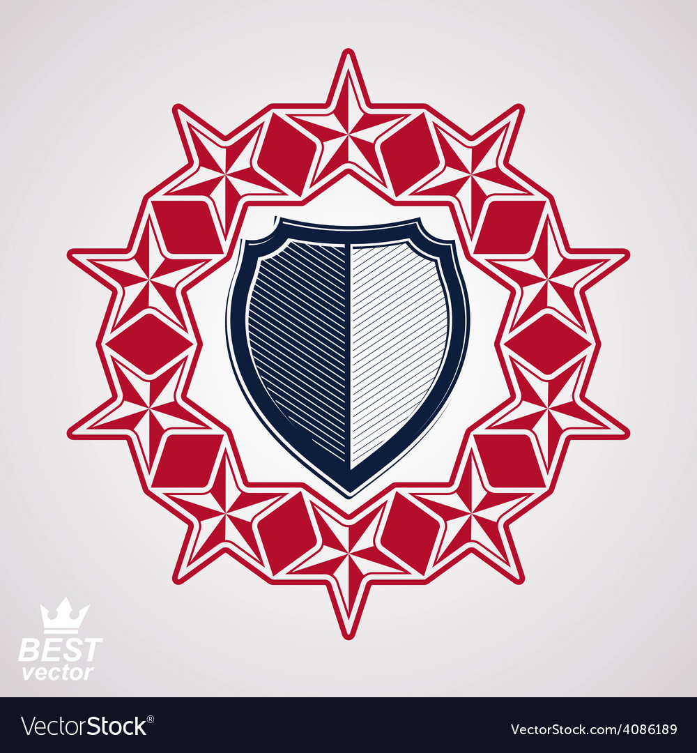 Shield with 3d stars vector | Price: 1 Credit (USD $1)
