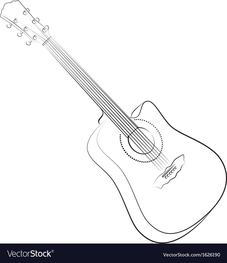Acoustic guitar colorless vector | Price: 1 Credit (USD $1)