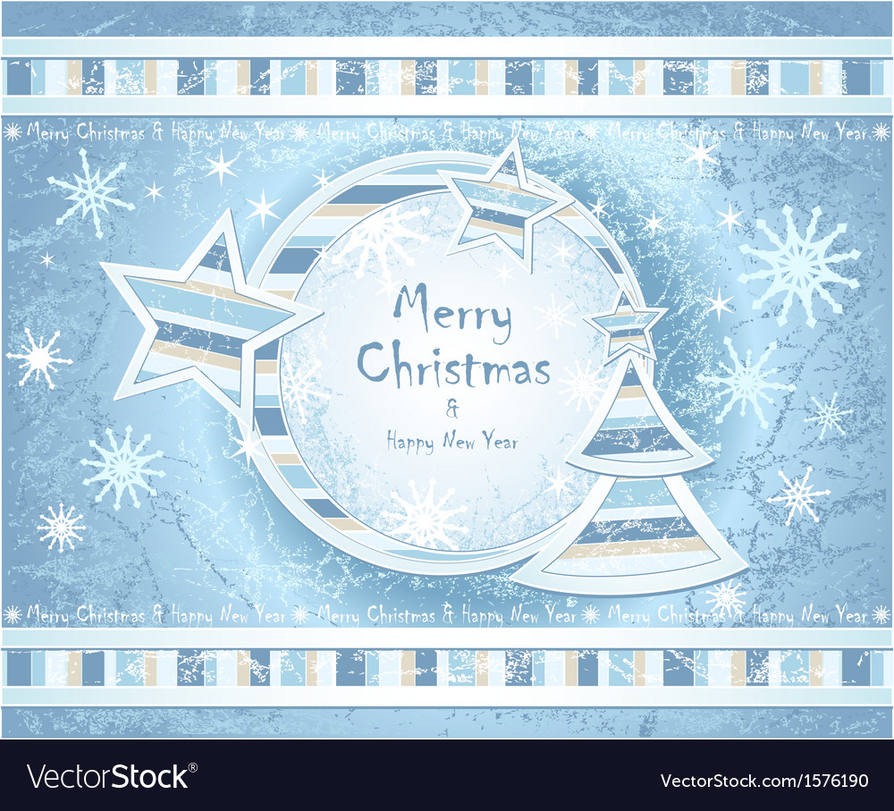 Background with christmas tree stars snowflakes vector | Price: 1 Credit (USD $1)