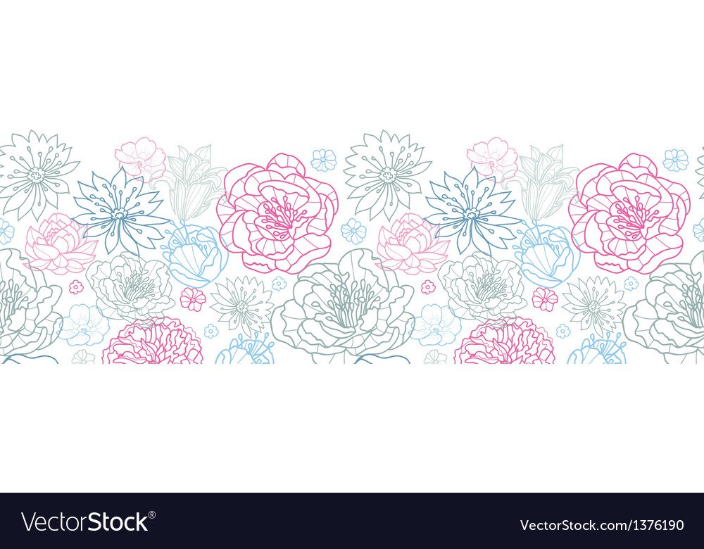 Gray and pink lineart florals horizontal seamless vector | Price: 1 Credit (USD $1)
