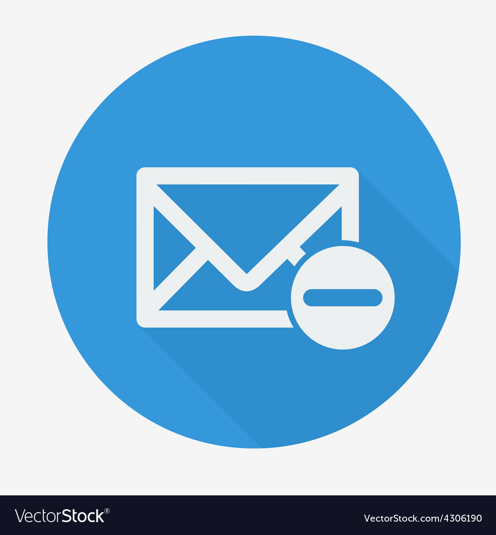 Mail icon envelope with minus sign flat design vector | Price: 1 Credit (USD $1)