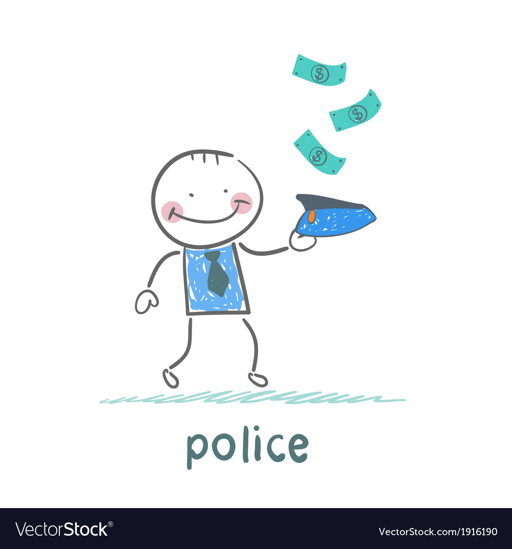 Police collect money which fall vector | Price: 1 Credit (USD $1)