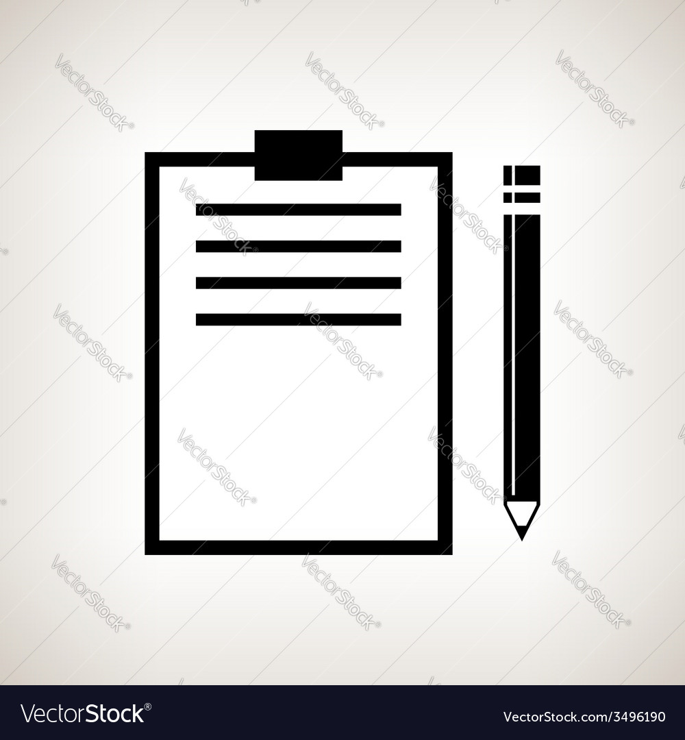 Silhouette clipboard with a pencil vector | Price: 1 Credit (USD $1)