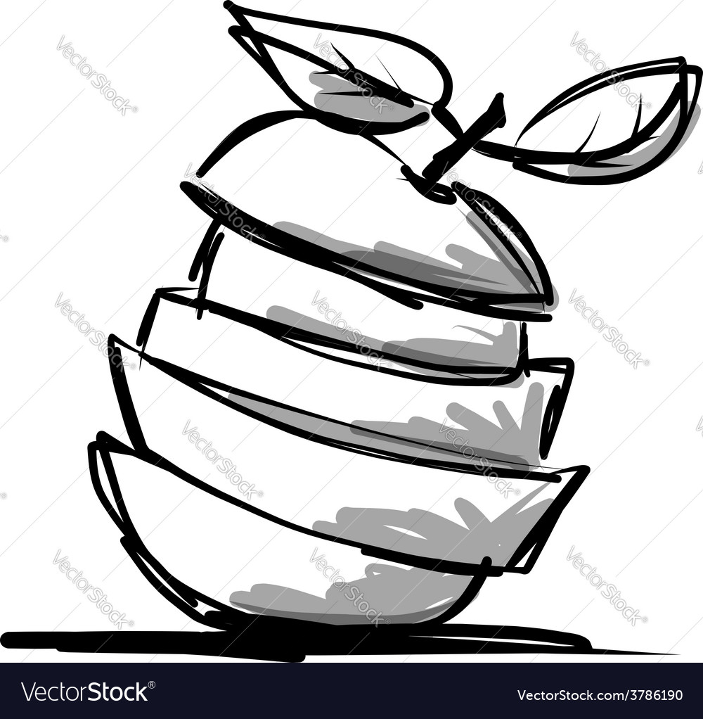 Slices of fruits apple shape sketch for your vector | Price: 1 Credit (USD $1)