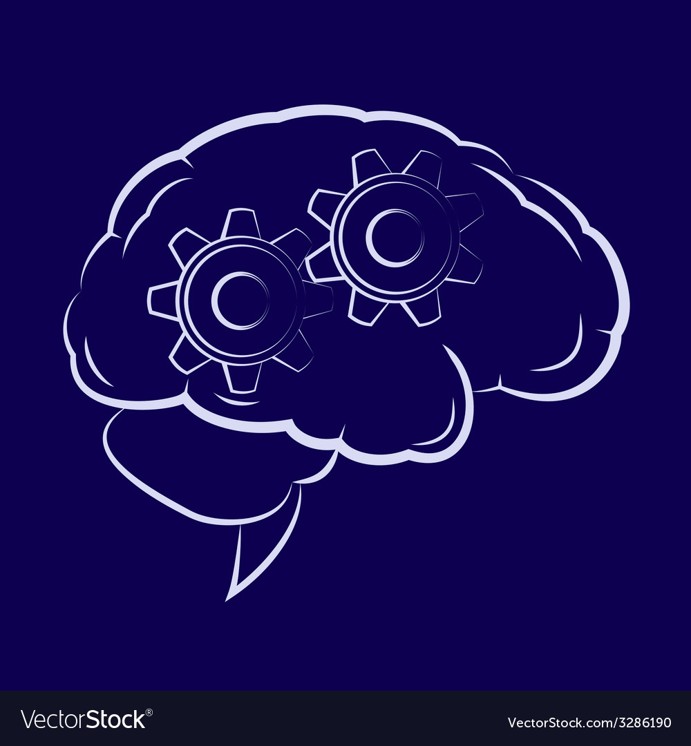 Symbol of the cogwheels inside human brain vector | Price: 1 Credit (USD $1)