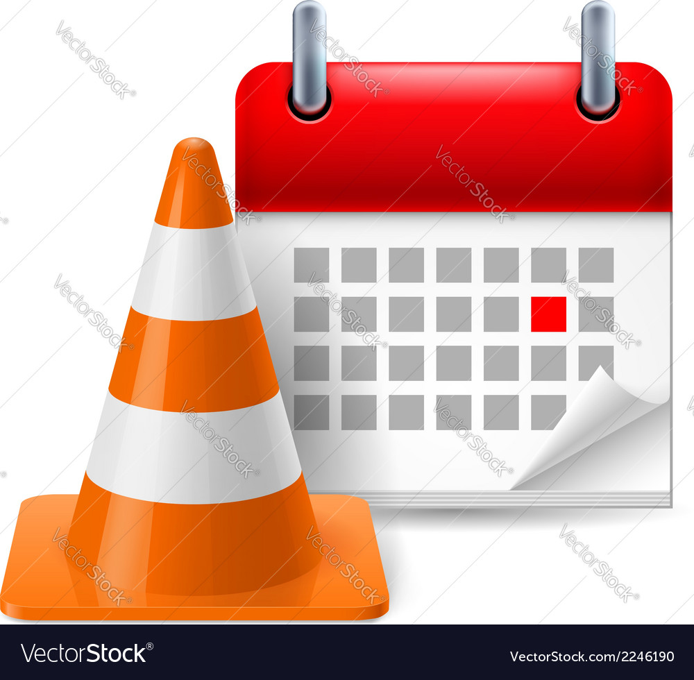 Traffic cone and calendar vector | Price: 1 Credit (USD $1)