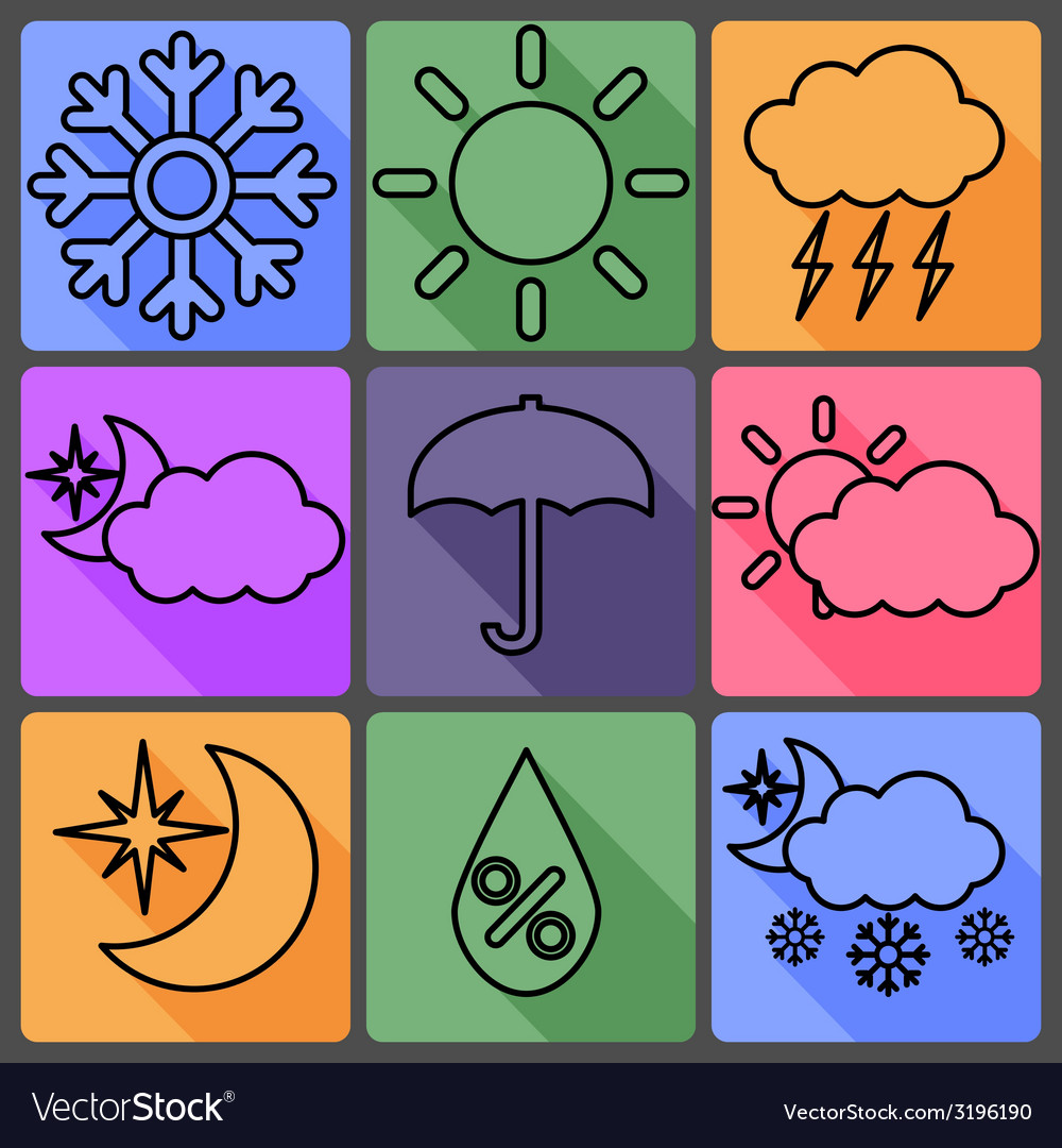 Weather icons on a colored background with shadows vector | Price: 1 Credit (USD $1)