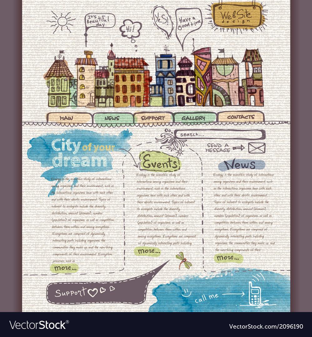 Website design template city vector | Price: 1 Credit (USD $1)