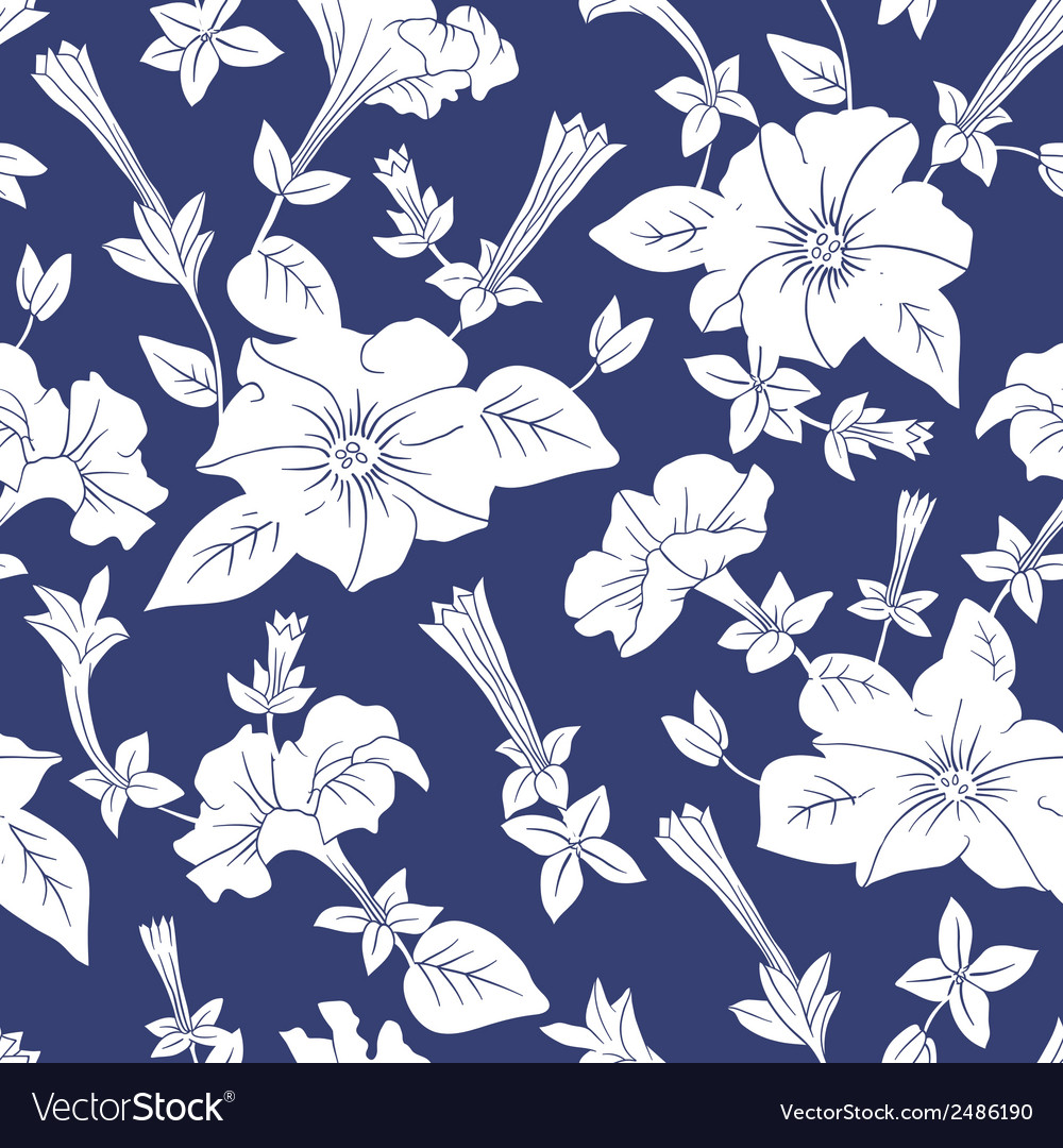 White floral seamless pattern vector | Price: 1 Credit (USD $1)