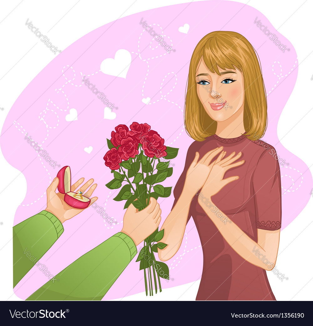 Young girl becomes present from a man vector | Price: 3 Credit (USD $3)