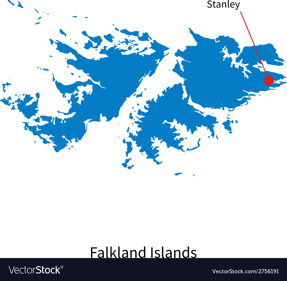 Detailed map of falkland islands and capital city vector | Price: 1 Credit (USD $1)