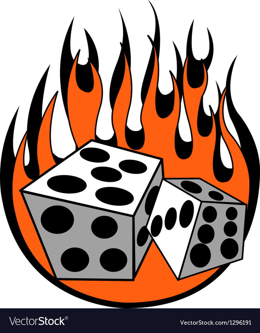 Dice with flames vector | Price: 1 Credit (USD $1)