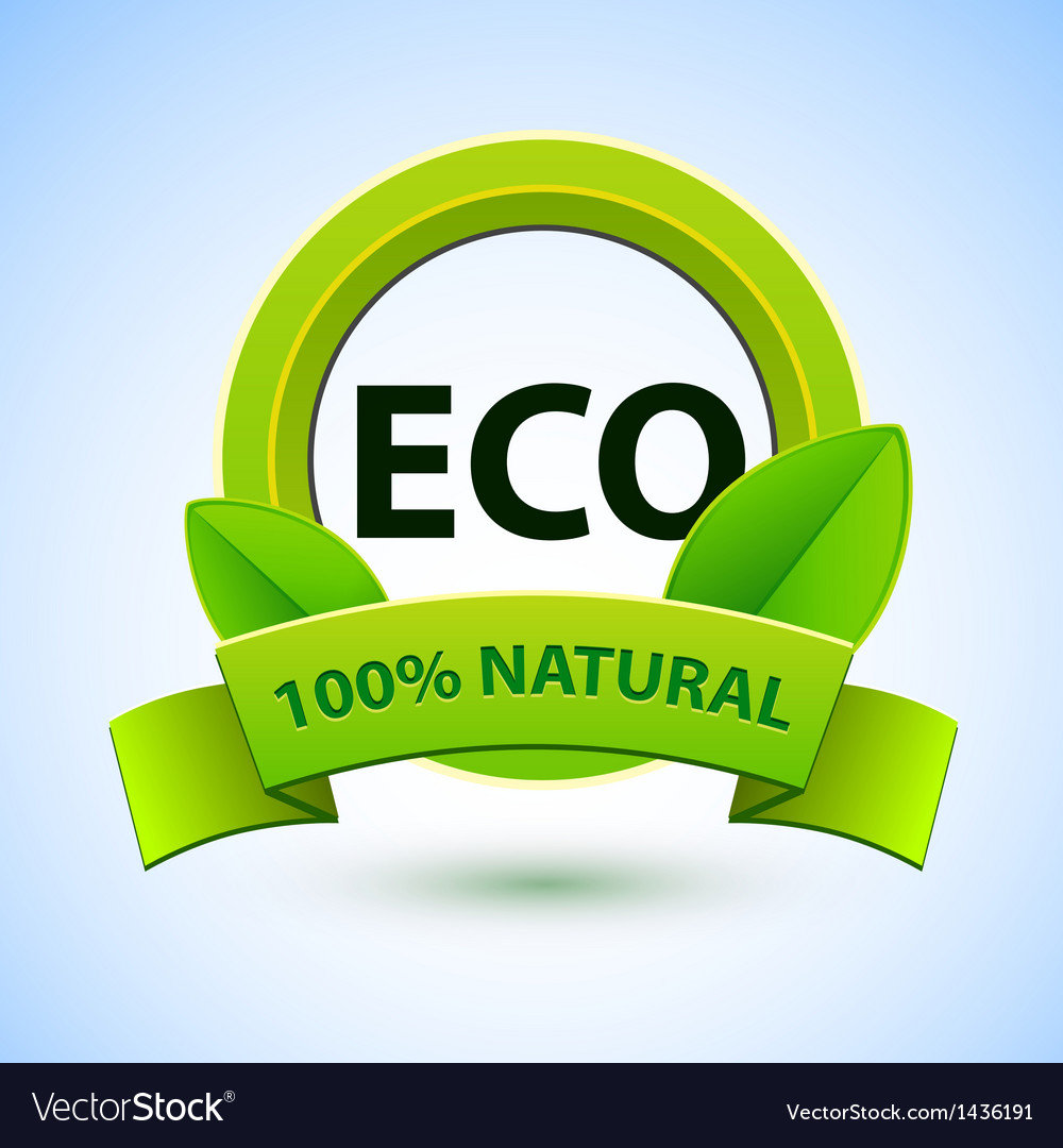 Eco sign with promotion text vector | Price: 1 Credit (USD $1)
