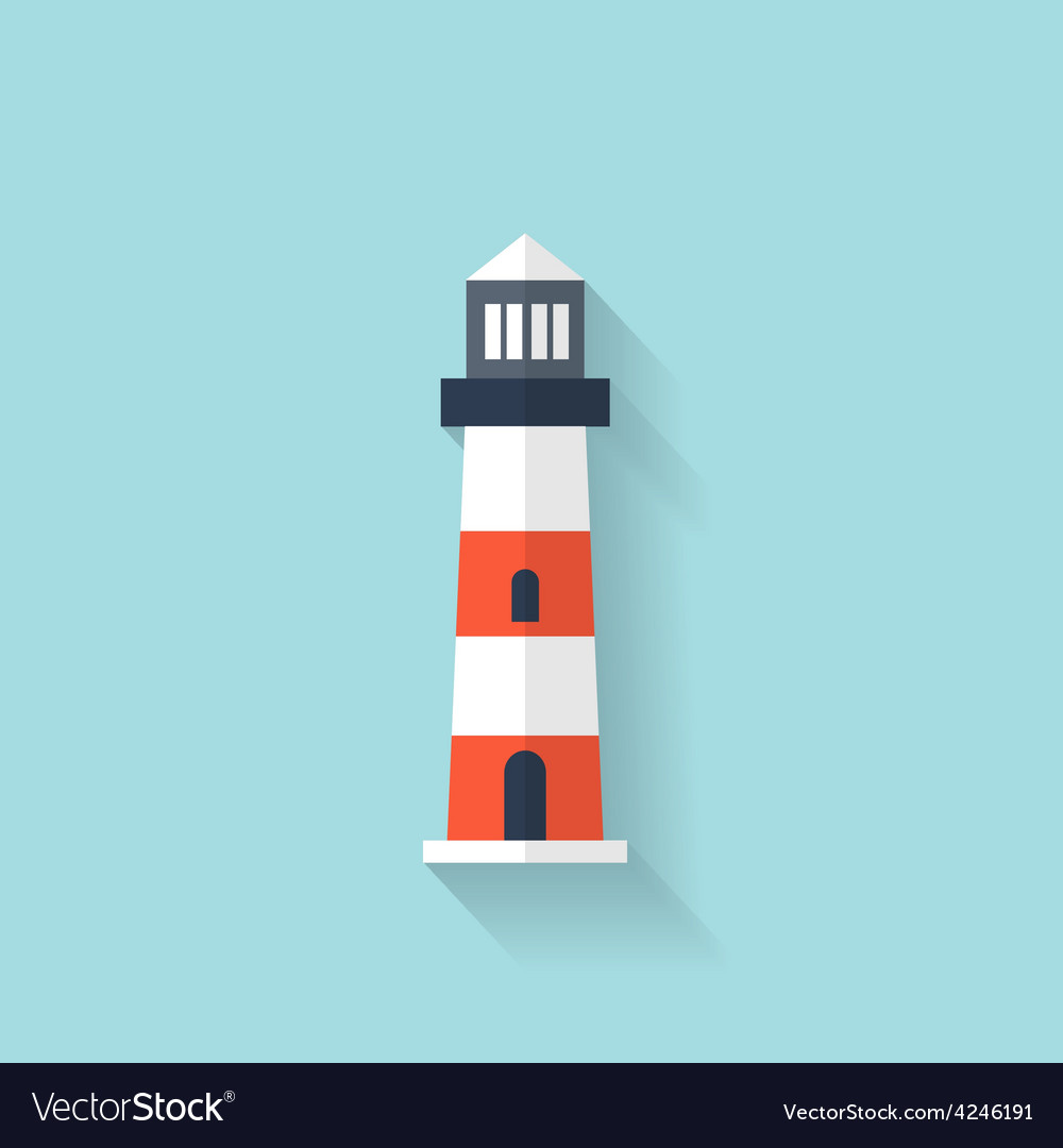 Flat lighthouse web icon vector | Price: 1 Credit (USD $1)