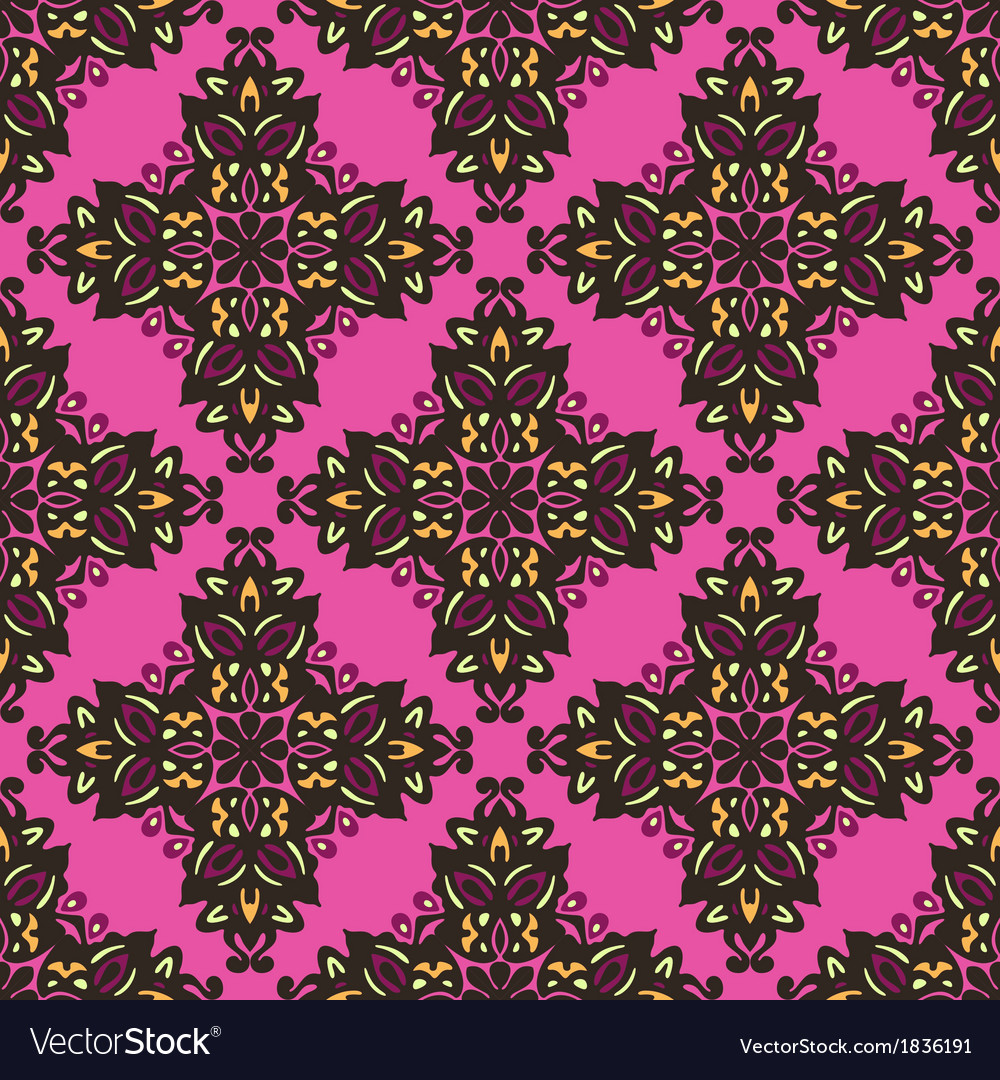 Flower pattern seamless ethnic colorful vector | Price: 1 Credit (USD $1)