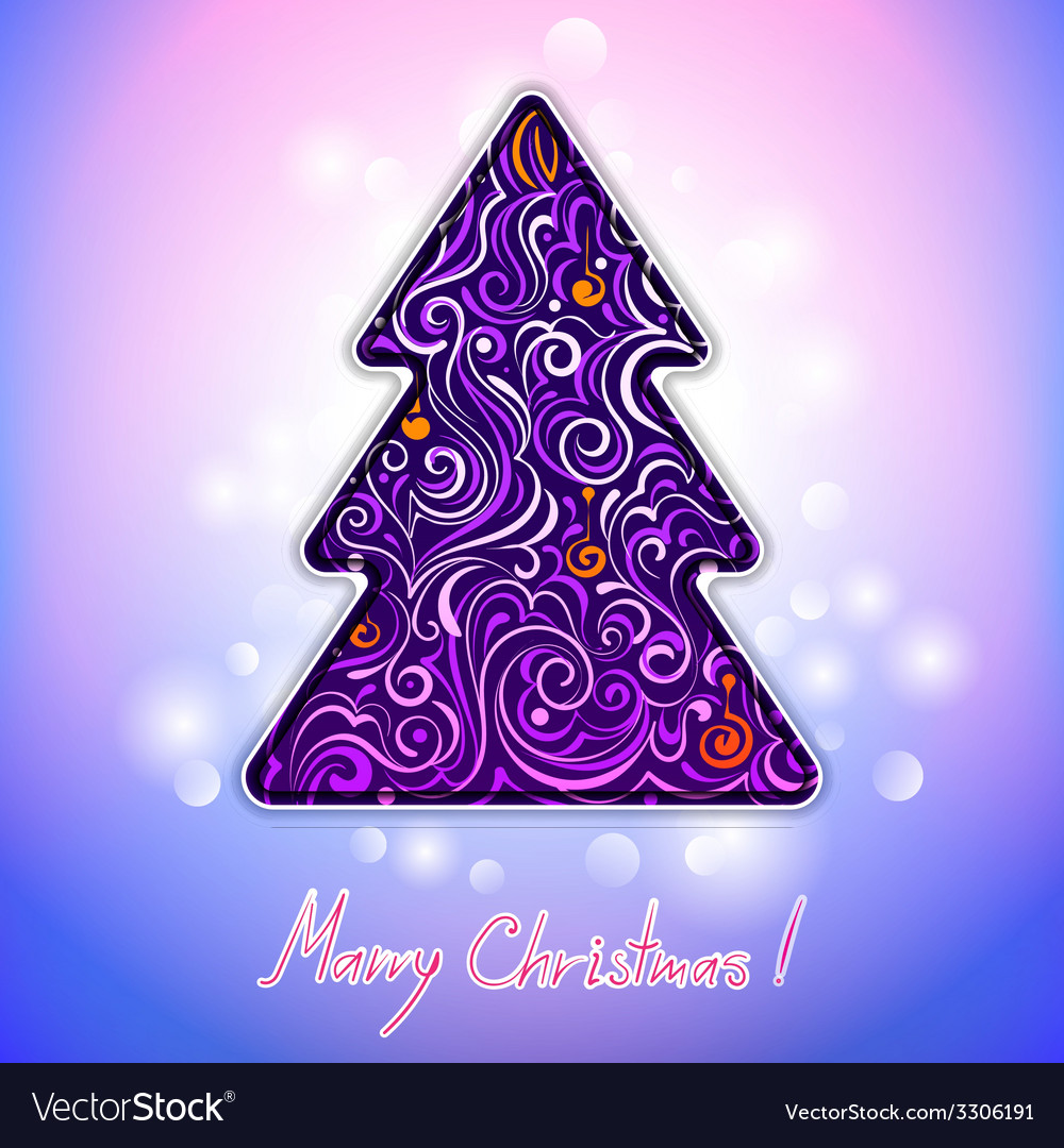 Greeting card with lace christmas tree vector | Price: 1 Credit (USD $1)