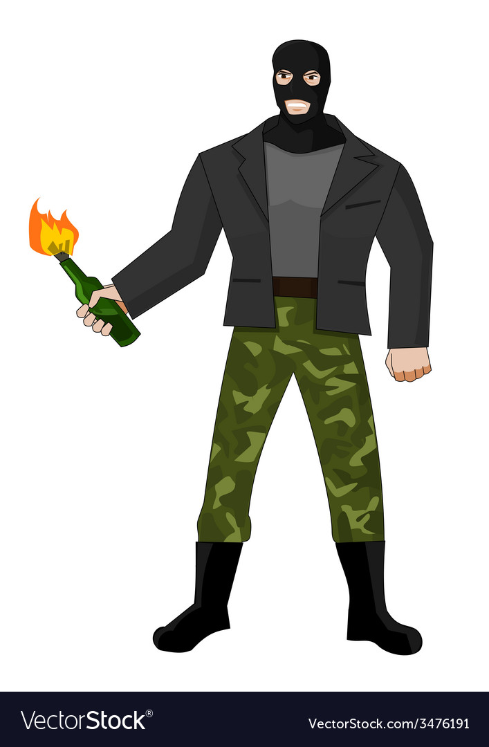 Man in mask with molotov cocktail vector | Price: 1 Credit (USD $1)