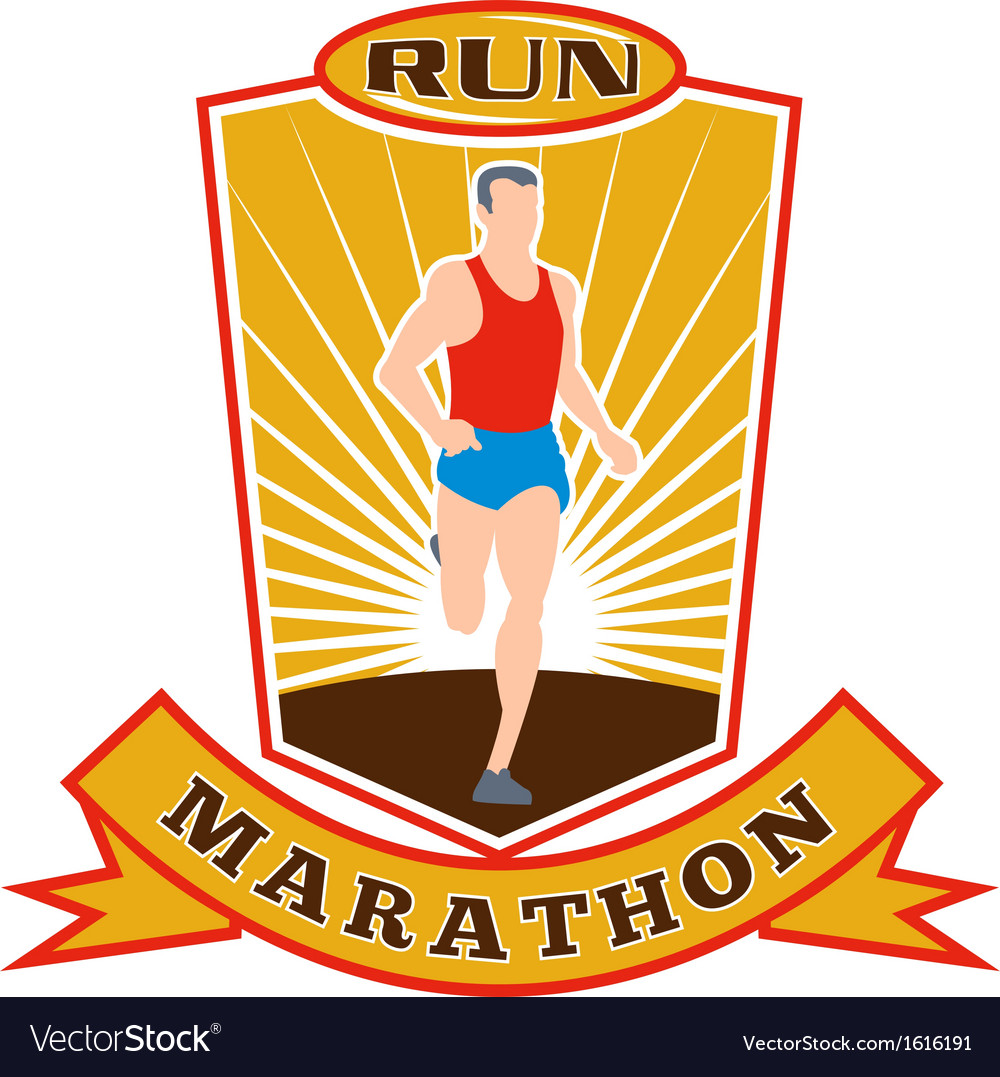 Marathon runner run race shield vector | Price: 1 Credit (USD $1)