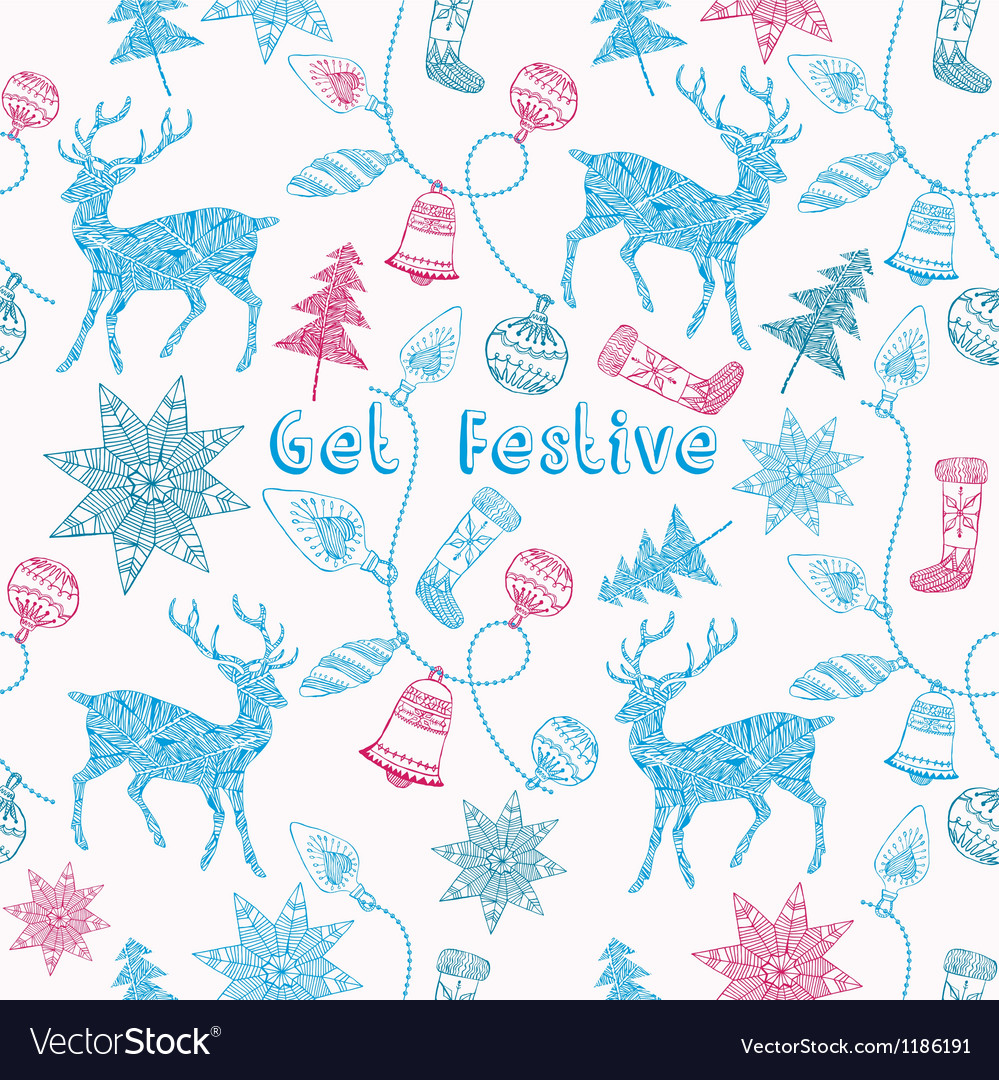 Noel card with deers and christmas decorations vector | Price: 1 Credit (USD $1)